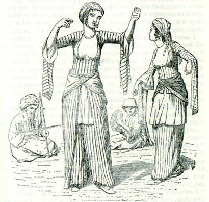 Ghawazy danzano in un'illustrazioni d'epoca
